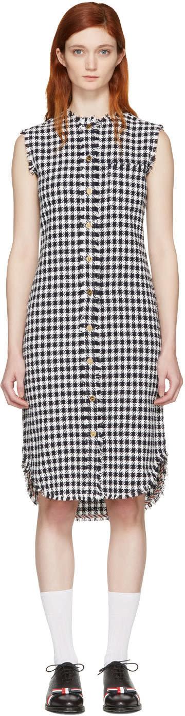 Thom Browne Navy Gingham Tweed Shirt Dress