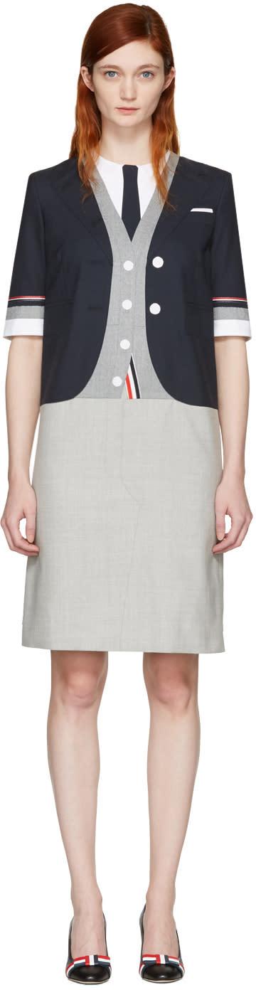 Thom Browne Navy Selvedge Trompe Loeil Classic Dress