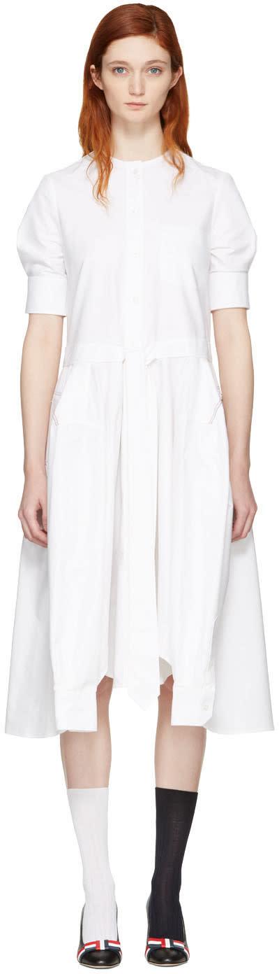 Thom Browne White Crewneck Neck Tie Belt Shirt Dress