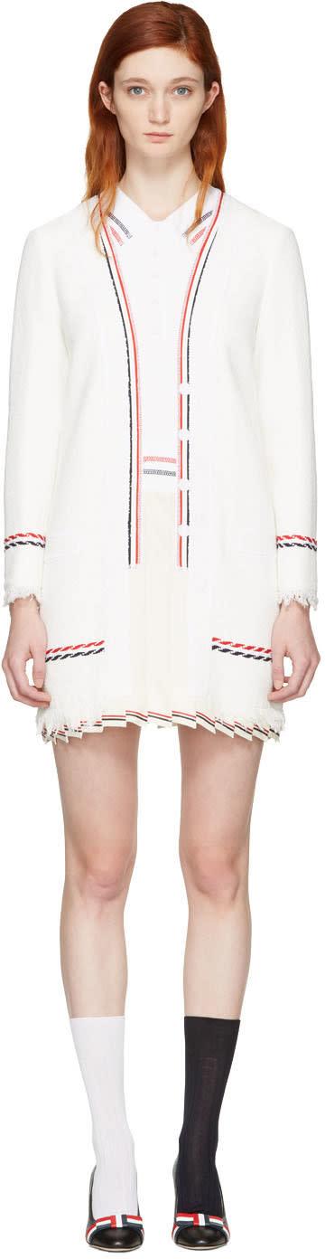 Thom Browne White Selvedge Tweed Trompe Loeil Polo Dress