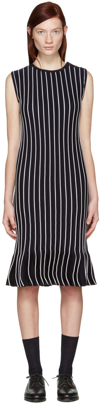 Thom Browne Navy Striped Pleated Dress