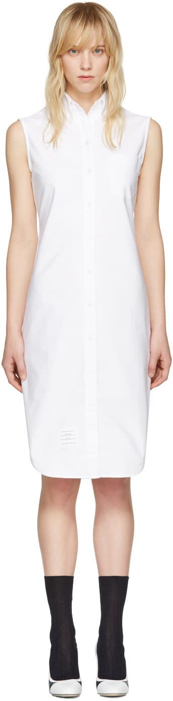 Thom Browne White Sleeveless Shirt Dress