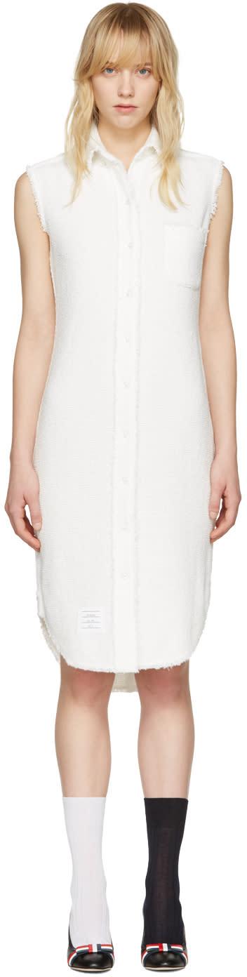 Thom Browne White Tweed Shirt Dress