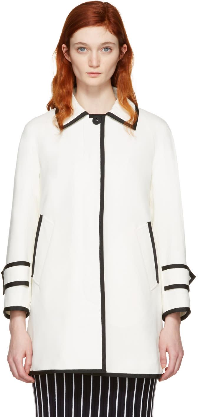 Thom Browne White Ball Collar Coat
