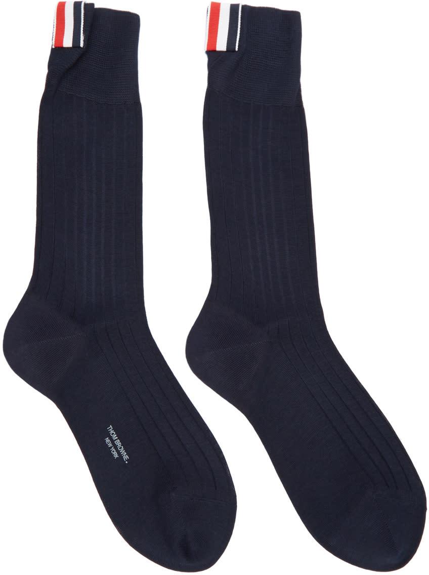 Thom Browne Navy Ribbed Socks