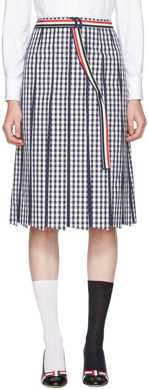 Thom Browne Navy Trompe Loeil A-line Skirt