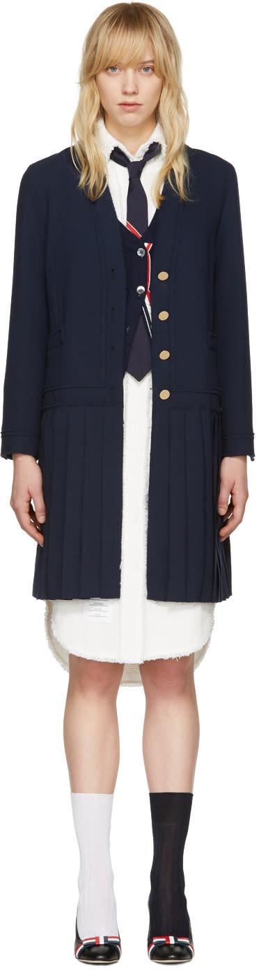 Thom Browne Navy Long Pleated Jacket