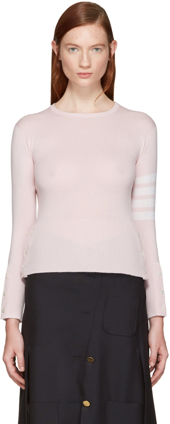 Thom Browne Pink Classic Crewneck Short Pullover