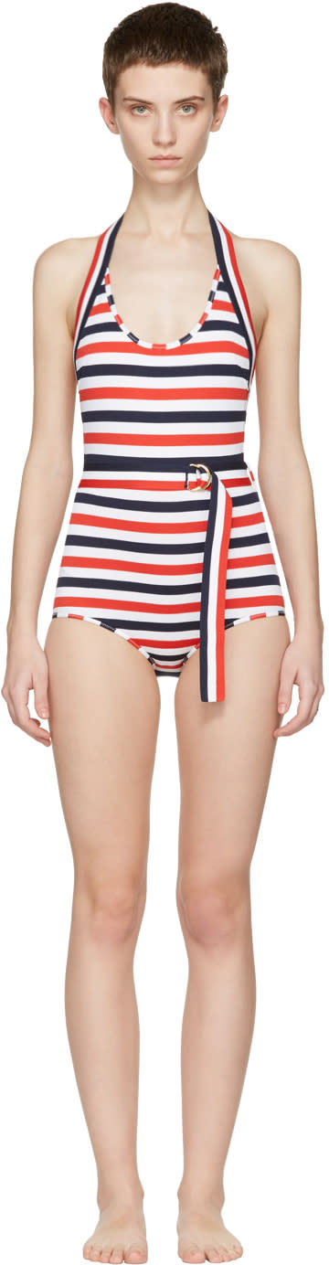 Thom Browne Tricolor Striped Halter Swimsuit