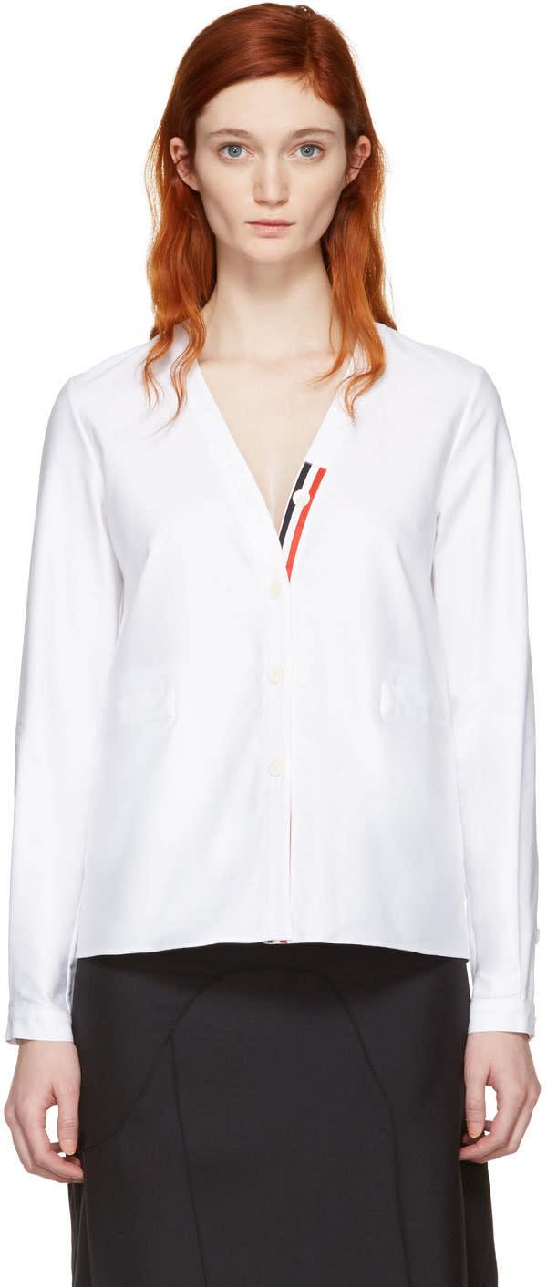 Thom Browne White Cardigan Shirt