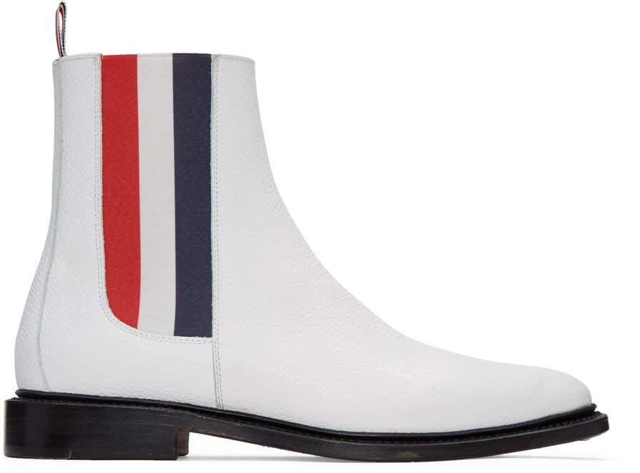 Thom Browne White Chelsea Boots