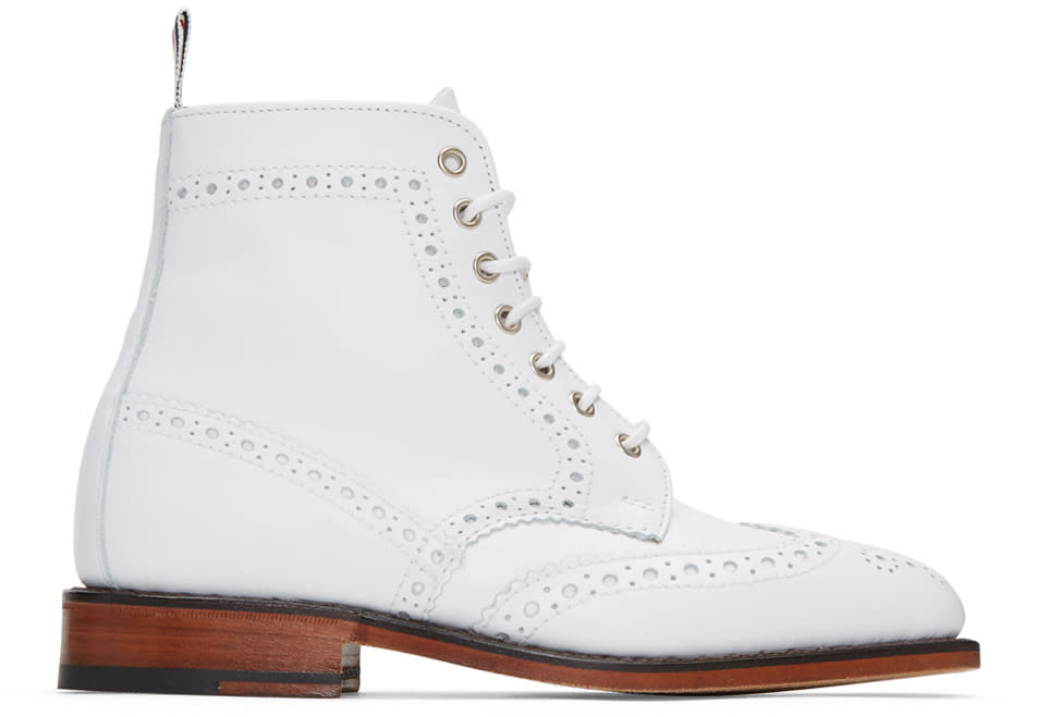 Thom Browne White Classic Wingtip Boots