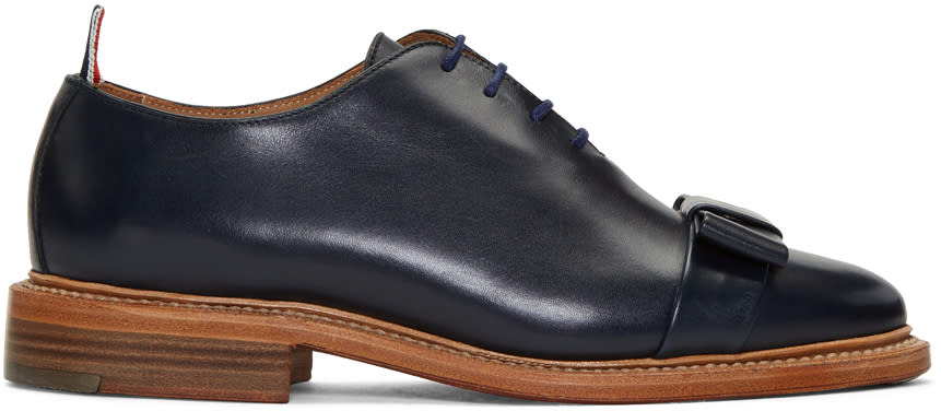 Thom Browne Navy Wholecut Bow Oxfords
