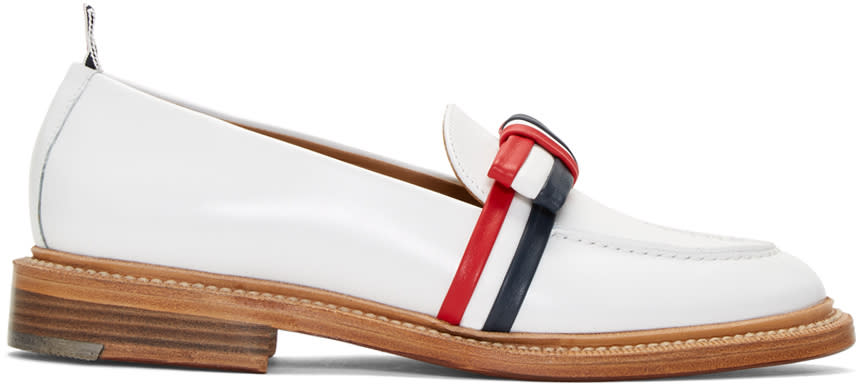 Thom Browne White Bow Loafers