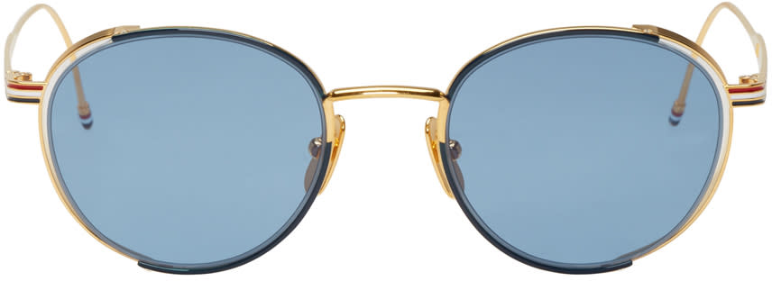 Thom Browne Navy and Gold Tb 106 Sunglasses