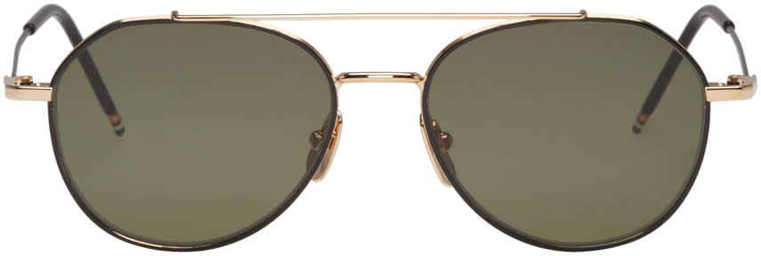 Thom Browne Black and Gold Tb 105 Sunglasses