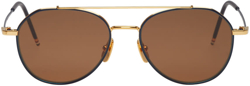 Thom Browne Navy and Gold Tb 105 Aviator Sunglasses