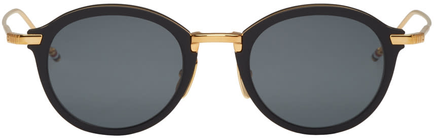 Thom Browne Black and Gold Tb 110 Sunglasses