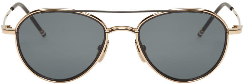 Thom Browne Gold and Black Tb 109 Aviator Sunglasses