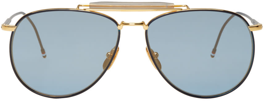 Thom Browne Navy and Gold Tb 015 Limited Edition Aviator Sunglasses
