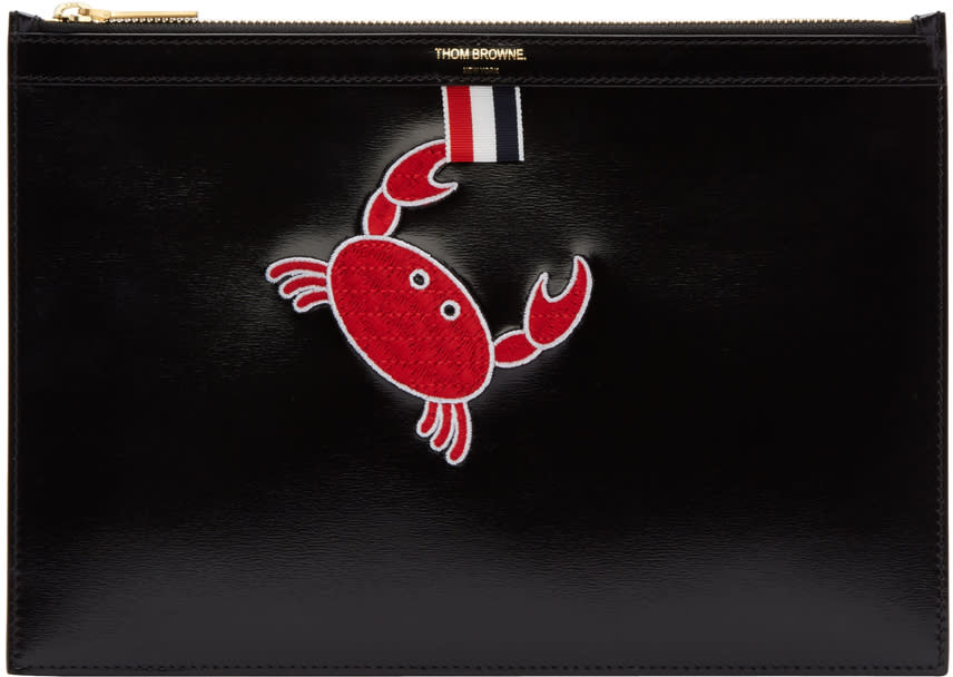 Thom Browne Black Small Embroidered Tablet Holder