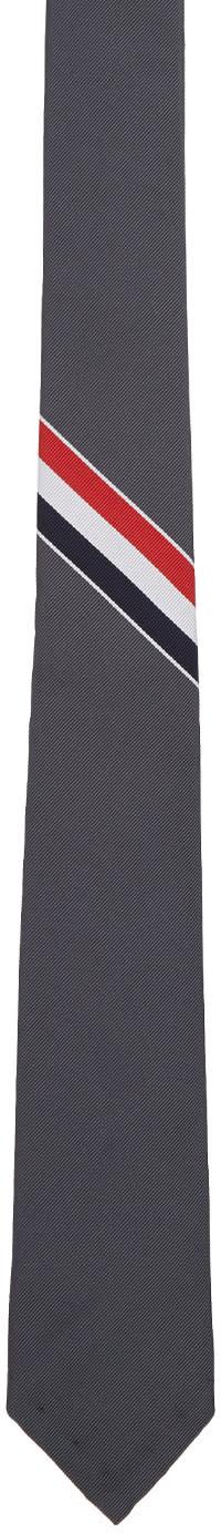 Thom Browne Grey Classic Stripe Tie
