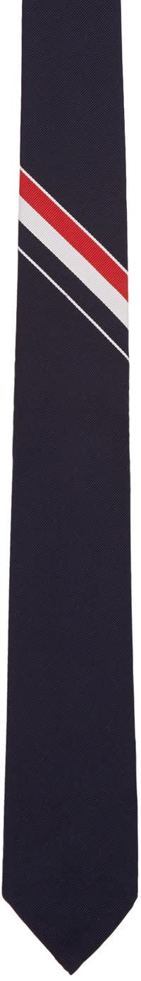 Thom Browne Navy Classic Stripe Tie