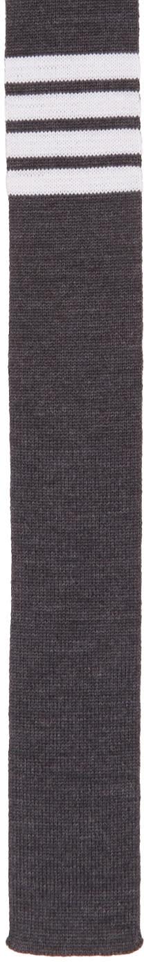 Thom Browne Grey Knit Four Bar Tie
