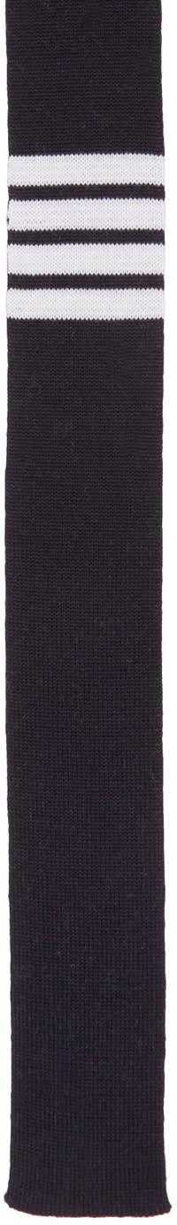Thom Browne Navy Knit Four Bar Tie