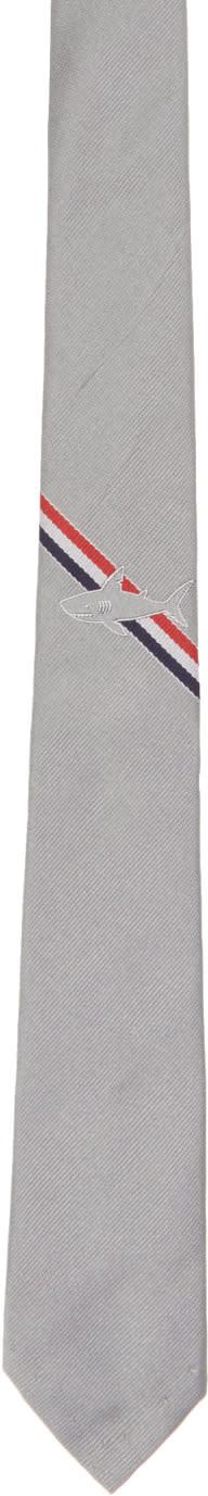 Thom Browne Grey Shark Stripe Classic Tie
