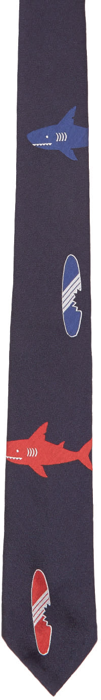 Thom Browne Navy Shark and Surfboard Classic Tie