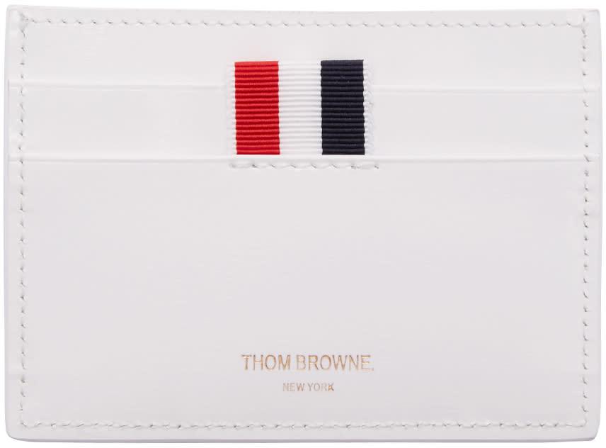 Thom Browne White Single Card Holder