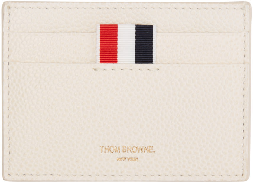 Thom Browne Off-white Single Card Holder