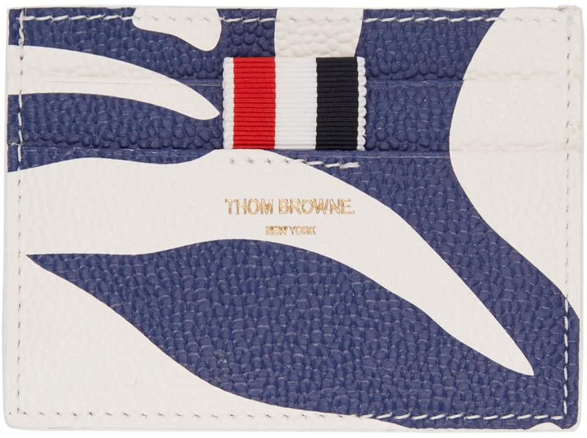 Thom Browne Tricolor Floral Outline Single Card Holder
