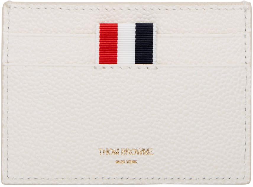 Thom Browne Off-white Diagonal Stripe Single Card Holder