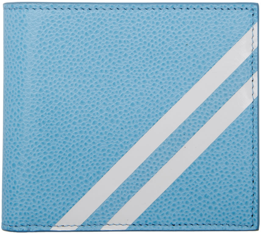 Thom Browne Blue Diagonal Stripe Wallet