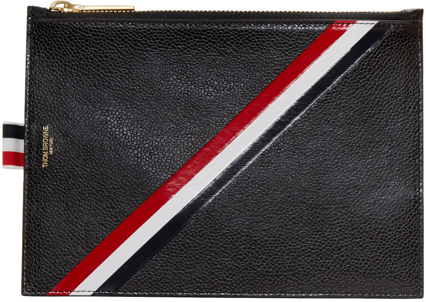 Thom Browne Black Large Diagonal Stripe Coin Pouch
