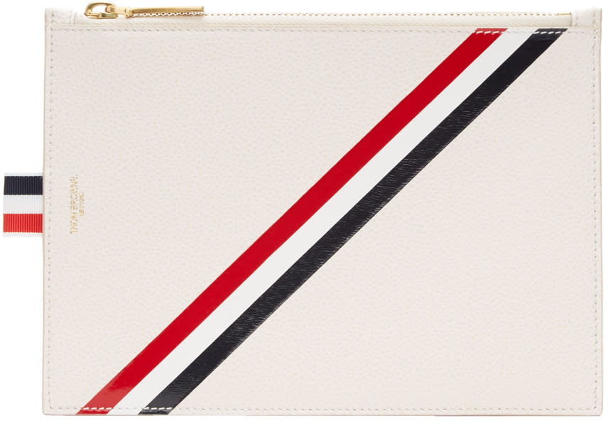 Thom Browne Off-white Large Diagonal Stripe Coin Purse