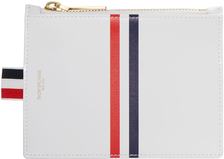Thom Browne White Small Stripe Coin Pouch