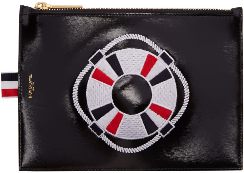 Thom Browne Black Large Embroidered Pouch