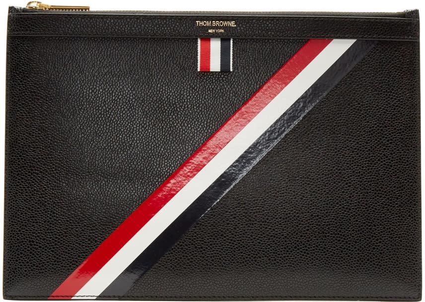 Thom Browne Black Small Diagonal Stripe Tablet Holder