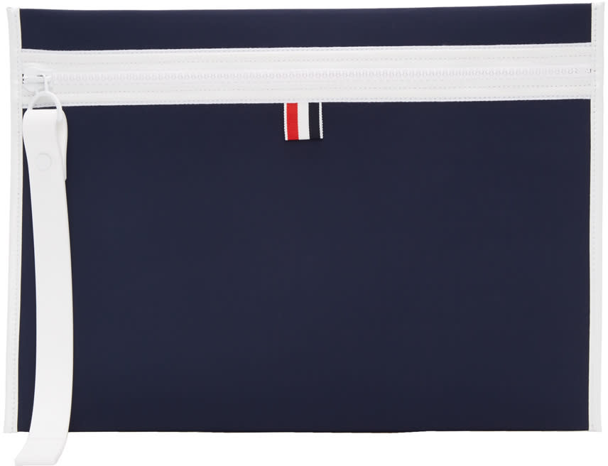 Thom Browne Navy Neoprene Laptop Case