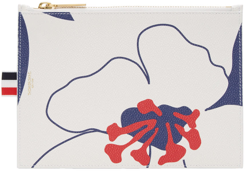 Thom Browne Tricolor Large Floral Outline Coin Purse