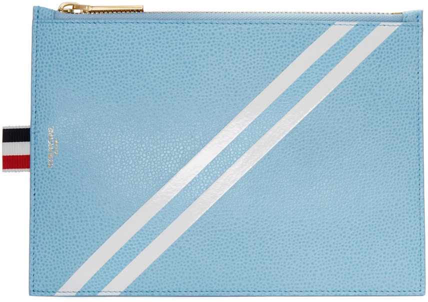 Thom Browne Blue Large Diagonal Stripe Coin Pouch