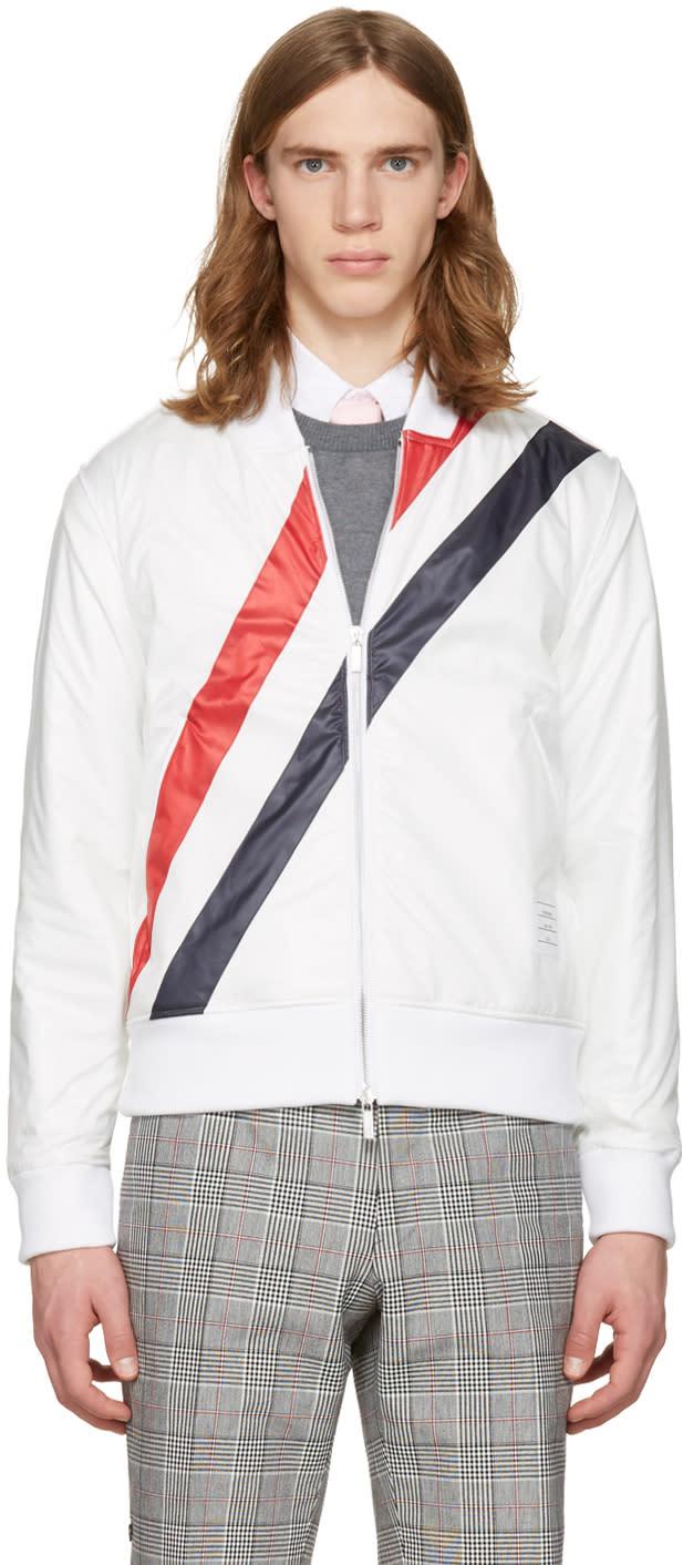 Thom Browne White Three Stripes Bomber Jacket