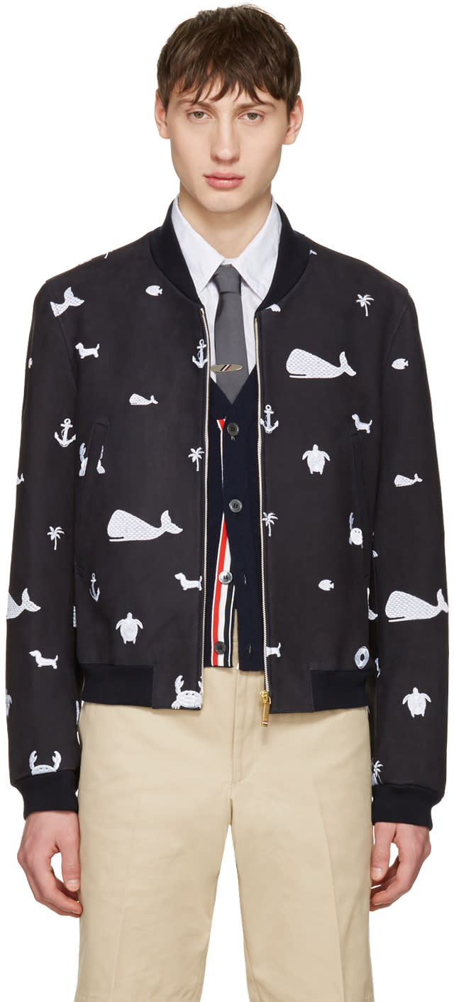 Thom Browne Navy Funmix Icon Varsity Jacket