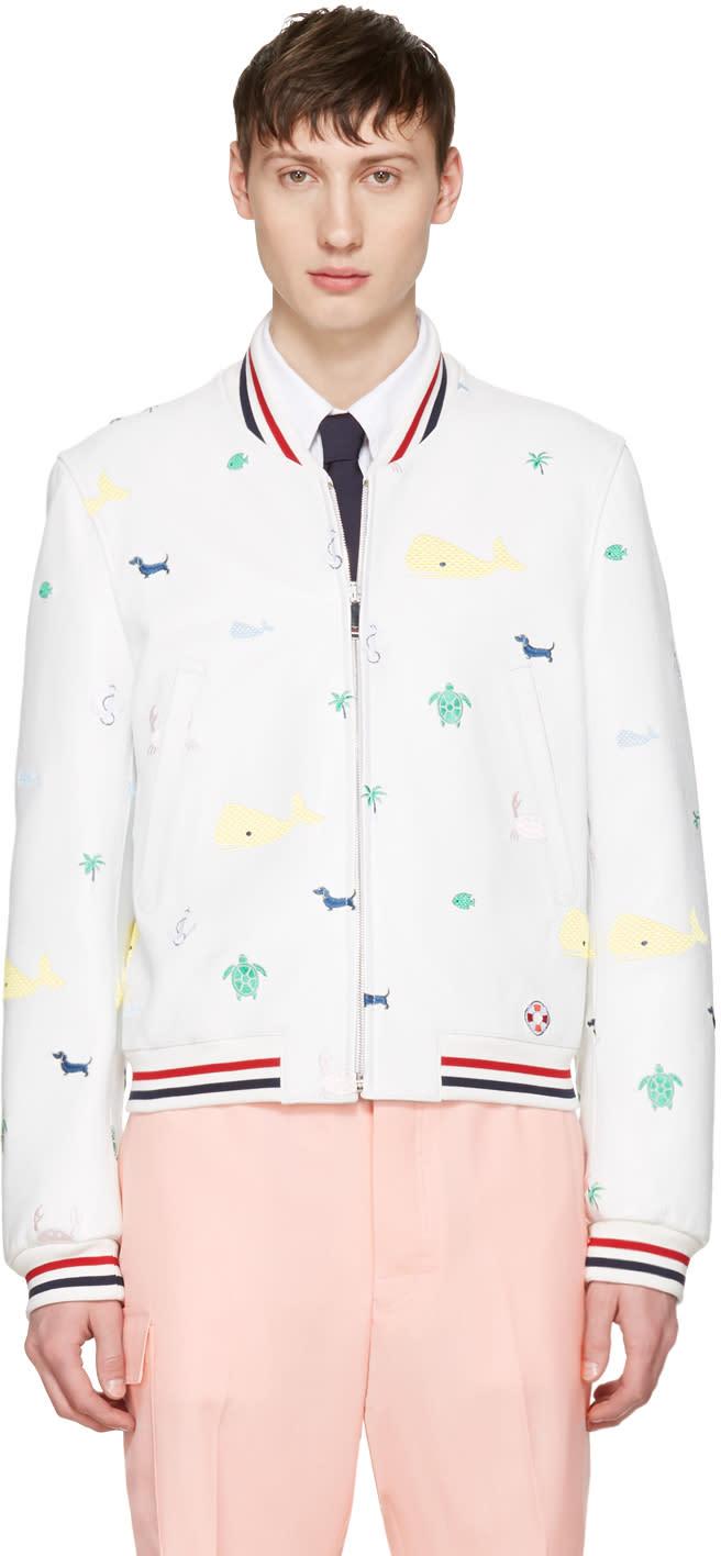Thom Browne White Funmix Icon Varsity Jacket