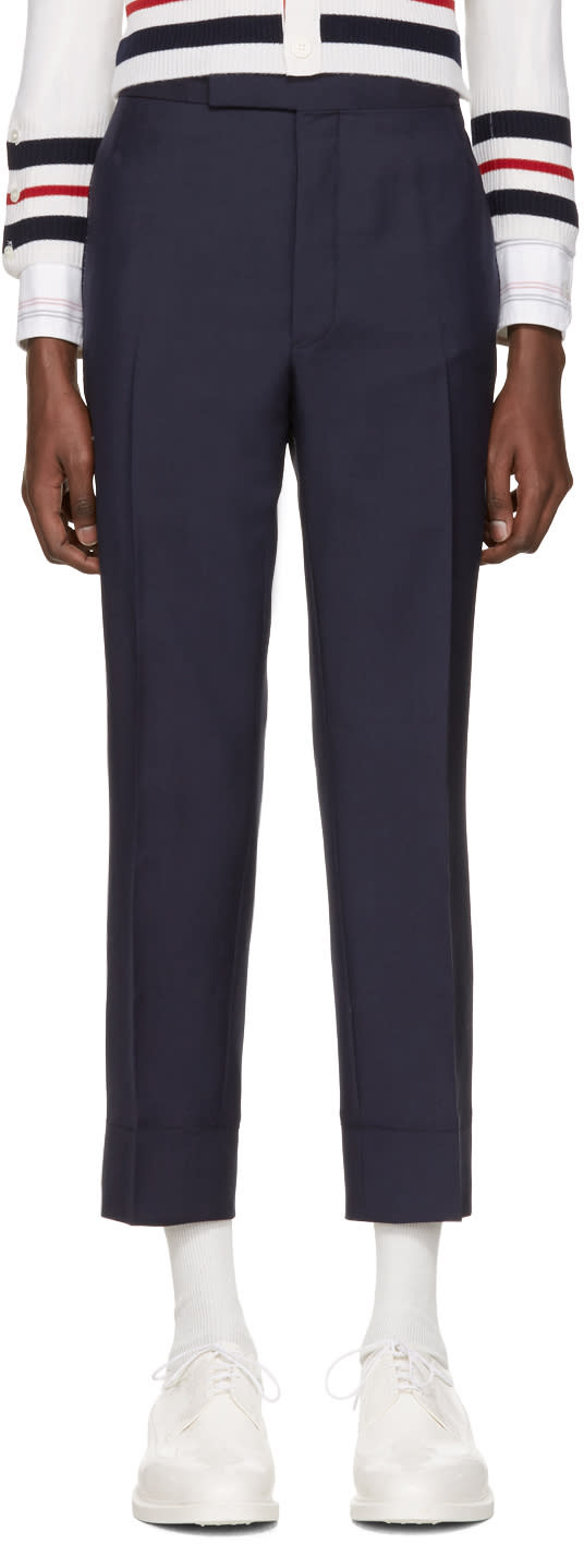 Thom Browne Navy Classic Trompe Loeil Backstrap Trousers
