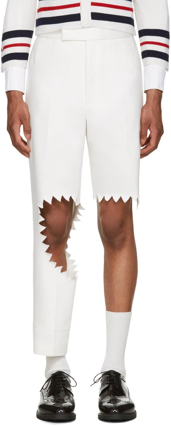 Thom Browne White Denim Trompe Loeil Shark Bite Trousers