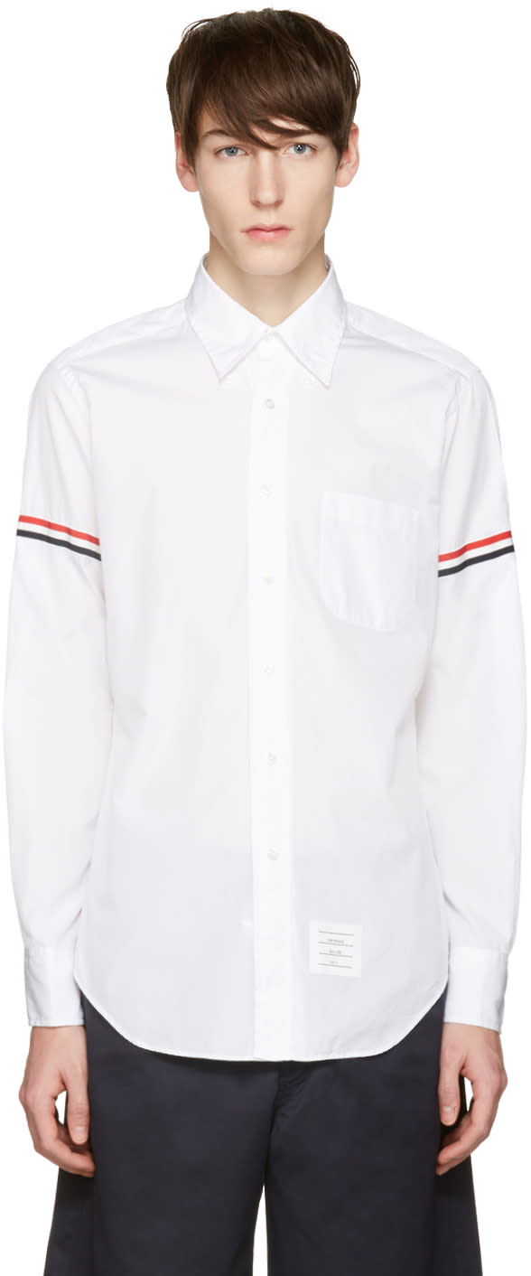Thom Browne Off-white Poplin Grosgrain Shirt